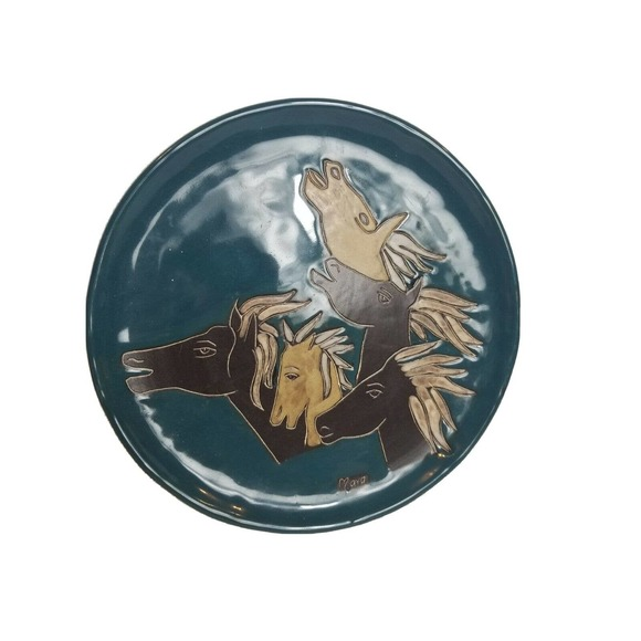 Decorative Plate Horses Hand Made Horse Vintage